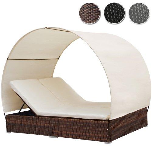 Miadomodo Polyrattan Sonneninsel Lounge Sonnenliege Farbwahl inkl. Kissen Sitzauflage Sonnendach für 2 Personen