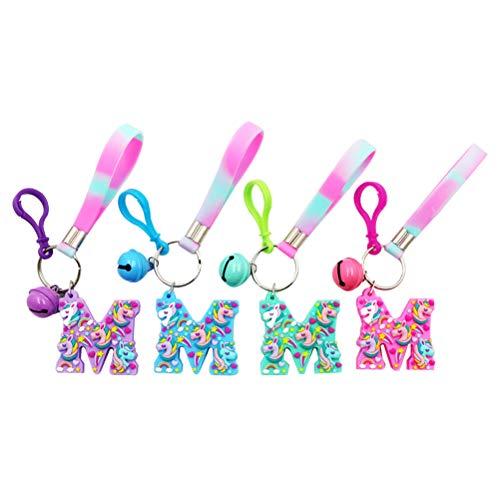 (YeahiBaby 4pcs Einhorn Keychain Party Favor Rainbow Einhorn Schlüsselanhänger Ring Geburtstag Party Favor Supplies (rot, grün, blau, lila))