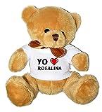 Oso de peluche con Amo Rosalina en la camiseta (nombre de pila/apellido/apodo)