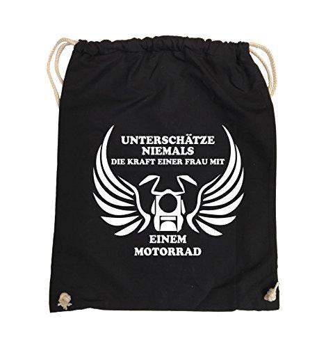 Comedy Bags - UNTERSCHÄTZE NIEMALS FRAU MIT MOTORRAD - Turnbeutel - 37x46cm - Farbe: Schwarz / Silber Schwarz / Weiss