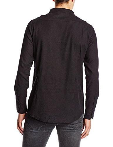 Urban Classics Herren Langarmshirt Hemd Low Collar Flanell Shirt Schwarz