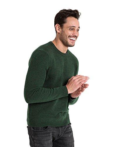 WoolOvers Pullover mit Rundhalsausschnitt aus Lammwolle für Herren Tweed Green, M (Wool Green Pullover)