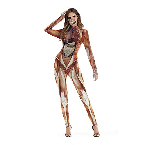 Kostüm Women's Billig Disney - Opak Weibliche Schädel Skeleton Kostüm Halloween Party Tragen Scary Woman Jumpsuit Dünne Zombie Vampire Cosplay für Damen, Color4, XL