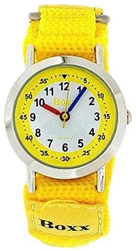 Boxx Reloj Correa Velcro Amarillo Dial Blanco Analogo Para Chico Y Chica