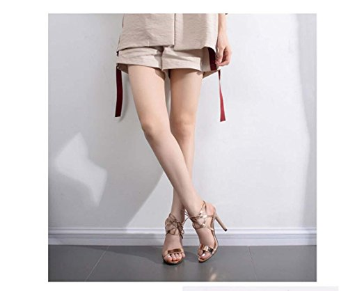 Cross Band Creux Open Toe romain Chaton Talon haut Élégant Sandale pour femmes Gold