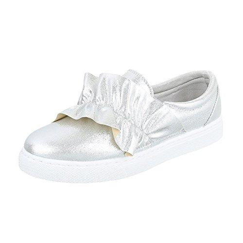 Slipper Damenschuhe Low-Top Moderne Ital-Design Halbschuhe Silber