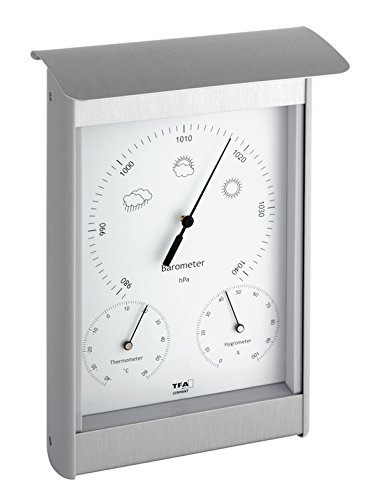 TFA Dostmann Analoge Außenwetterstation, aus Aluminium, Barometer, Thermometer, Hygrometer, wetterfest