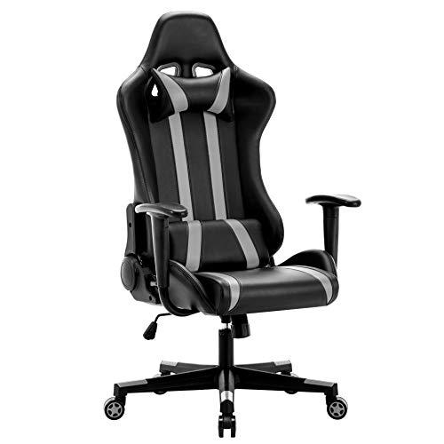 IntimaTe WM Heart Gaming Stuhl, Racing Stuhl, Gamer Stuhl Ergonomischer Bürostuhl, PU Chefsesel Computerstuhl mit Kopfkissen und Taillenstütze, 135° kippbare Rückenlehne (Grau)