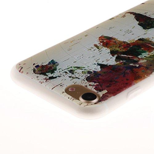 iPhone 7 Hülle,TPU Silikon Defender für iPhone 7,Ekakashop Bunte Campanula Muster Ultra dünn Slim Transparent Flexible Gel Crystal Klar Case Protective Schutzhülle Durchsichtig mit Niedliche Cartoon f Karte
