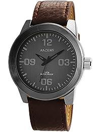 XXL Hombres Reloj De Pulsera Gris Marrón Titanio Look Analógica Metal Cuero