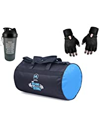 Hyper Adam Combo of Gym Bag, Protein Shake and Wrist Support Gloves, Medium (Black and Orange, 405040)