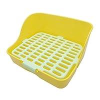 BIGBIGWORLD Pet Rabbit Toilet Litter Tray, Plastic Rectangle Mesh Design Pet Potty Toilet Trainer Corner Bedding Litter Box for Small Animal, Guinea Pig, Ferrets,Yellow