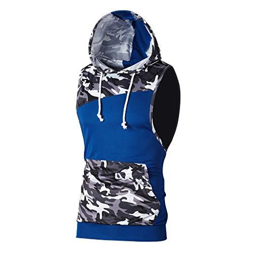 TIFIY Herren Gym Tank Tops Camouflage Patchwork Ärmellose T-Shirts Sport Lauf Tops Weste Schlank Mit Kapuze Bluse Sommer Sweatshirt(Blau,XL)