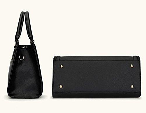 HQYSS Borse donna Pelle Donna PU OL Shoulder Handbag Messenger solido Colore Crossbody Bag Borsa Telefono Pacchetto 2 piece set , red black