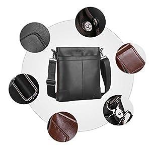 41WpmOgbFSL. SS300  - Leathario Bolso Bandolera Hombre de Cuero Vintage Pequeño Bolsa Hombro Piel Escolar Viaje para iPad 9.7 Pulgadas (Marrón…