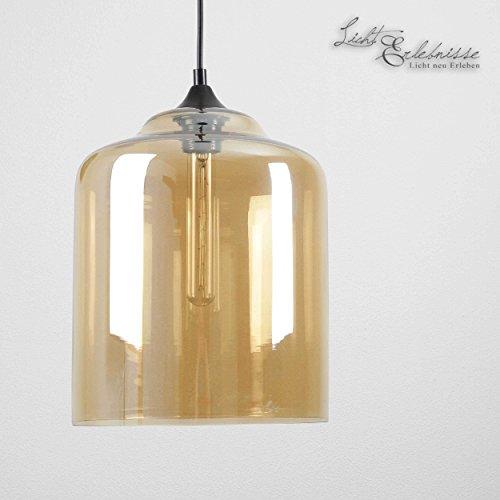 Loft Hängeleuchte Vintage Industrie Design Glas in Amber E27 bis 60W Watt 230V verstellbare Hängelampe für Esszimmer Küche Lampen Leuchte Beleuchtung innen (60-watt-industrie-lampe)