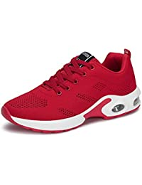 new product b2bc9 c3190 Basket Sneakers Femme pour Running Chaussures de Course Lacets Air Coussin  4cm Noir Rouge Rose Violet