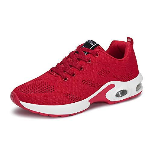 PAMRAY Laufschuhe Damen Air Gymnastik Strasenlauf Schuhe Schnuren Freizeitschuhe Rot 37