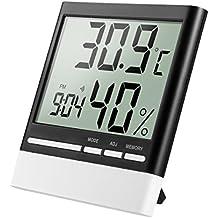 isermeo Termómetro Higrometro digital con gran LCD Pantalla Medidor Temperatura y Retroiluminación azúl Interior Monitor de
