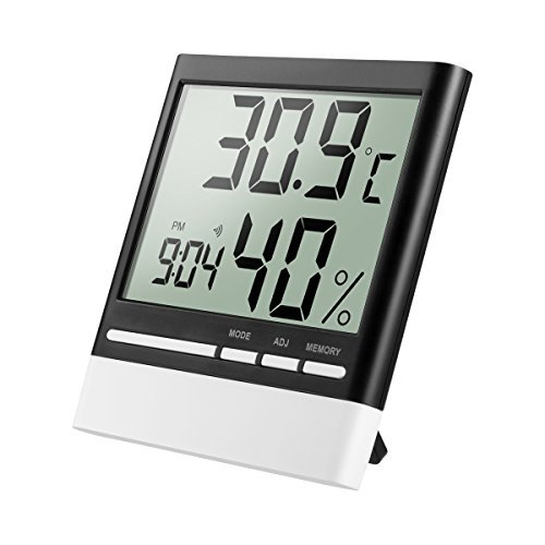 Isermeo Termómetro Higrometro Digital con Gran LCD Pantalla Medidor Temperatura y Retroiluminación...