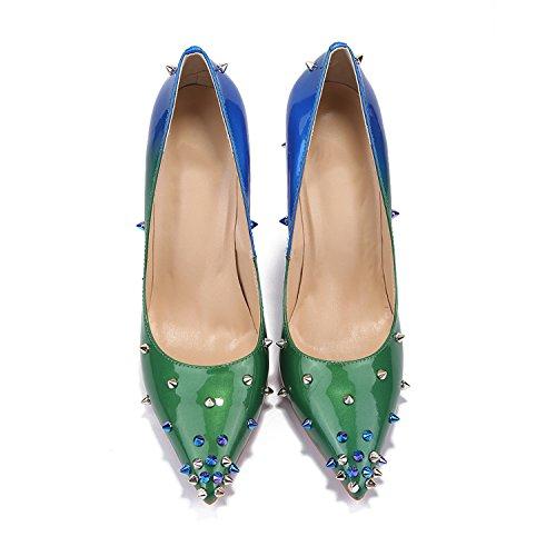 Kevin Fashion ,  Damen Durchgängies Plateau Sandalen mit Keilabsatz Grün / Blau