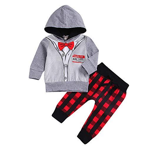 i-uend 2019 Baby 2 Stück Sets-Neugeborenen Baby Boy Gentleman Tops Hoodie Plaid Hosen Set Outfits Kleidung für 0-3 Jahre - 2 Stück Set Matratze