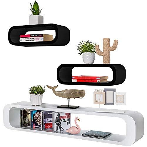 Bakaji set 3 mensole da parete moderne design cubo ovale mensola scaffale 2 ripiani in legno mdf 2 dimensioni (nero bianco)