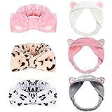 Joinfun 6Pcs Bowknot Haarband Make Up Stirnband Bowknot Haar Wrap Spa Dusche Maske Haarschmuck mit Katze Ohren Haarbänder Gesichtsreinigung Gesichtspflege
