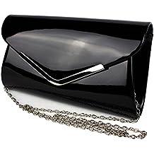 a15332f0f37fe Schompi Vintage Damen Lack-Tasche Abendtasche Clutch Bag mit abnehmbarer  Schulterkette Kettentasche