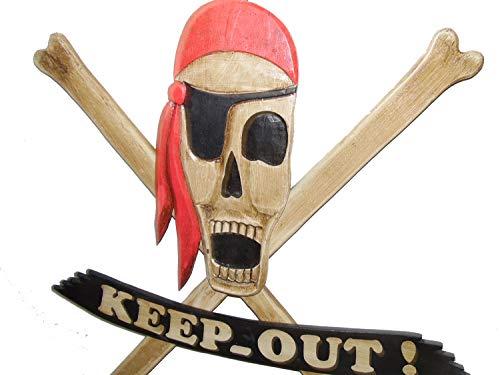 osters muschel-sammler-shop Grosses Piratenschild 85x87cm zum hängen - Holz - Kapitän - Pirat - Piratendekoration - Piratenparty - Kinderzimmerdekoration ( 23408)