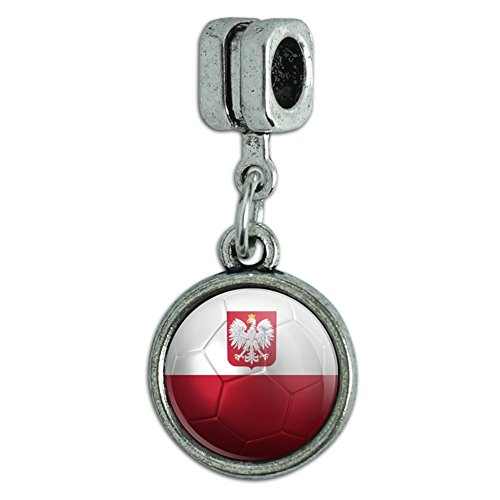 Europäischen Stil Armband Charm Bead Fußball Futbol Fußball Country Flagge-Z Poland with Coat of Arms Flag Soccer Ball