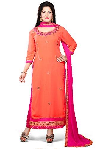Utsav Fashion Straight Cut Suit In Peach Colour