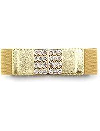 Trimming Shop Femmes ceinture élastiquée avec doré encadré Boucles ornés  avec faux diamants - 60mm Large entièrement réglable et… 2177664f482