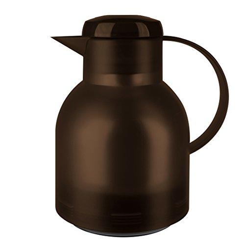 Emsa 509820 Isolierkanne, 1 Liter, Quick Press Verschluss, 100% dicht, Transluzent Dunkelbraun,...
