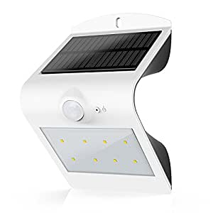 HonestEast Solarleuchte LED, 6000K Solarlampe Sicherheits mit bewegungsmelder solarleuchten garten led Außenwandleuchten solarlicht für Haus Zaun Garten Garage Schuppen Treppe Garten Deko (Weiß)