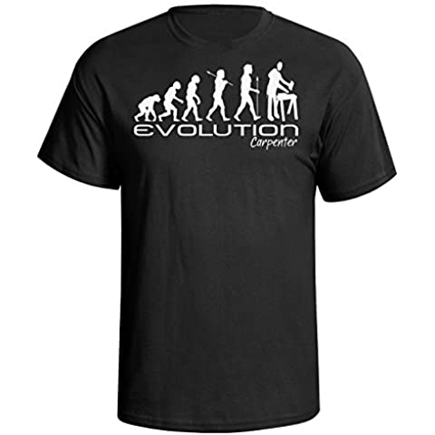 Evolution of a carpenter Mens Uomo Maglietta chippy carpentry funny unique gift present t shirt Black shirt white print