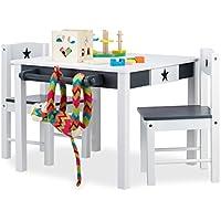 Preisvergleich für Relaxdays Kindersitzgruppe Star, Tisch u. 2 Stühle, aus Holz, Kindertischgruppe für Jungen und Mädchen, Stern, weiß-grau