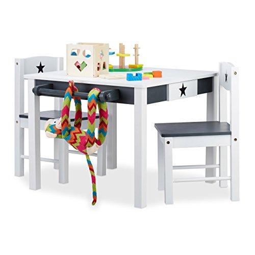 Relaxdays Kindersitzgruppe Star, Tisch u. 2 Stühle, aus Holz, Kindertischgruppe für Jungen und Mädchen, Stern, weiß-grau, Standard