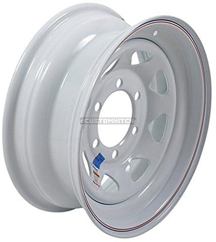 Trailer Wheel Rim #346 15x6 15 6 Bolt Hole 5.5 OC White Steel Spoke w/Stripe by eCustomRim