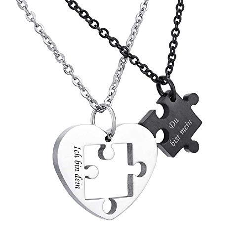 kette Silber Farbe Sperren Schlüssel Partnerketten Freundschftsketten mit Gravur Ring Kreis Ketten für 2 (Herz Dein/Mein) ()