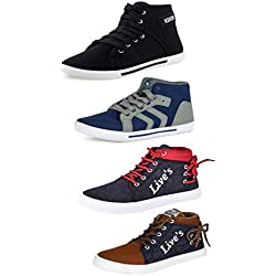 Tempo Men's Multicolour Synthetic Combo Sneaker Shoes - 9 (Pack of 4)