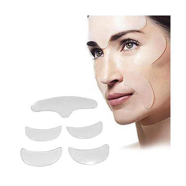 5 parches antiarrugas para el rostro, parches antiarrugas, parches de silicona, arrugas faciales para alisar arrugas, reducción de líneas finas alrededor de los ojos, para rostro, cuello, frente