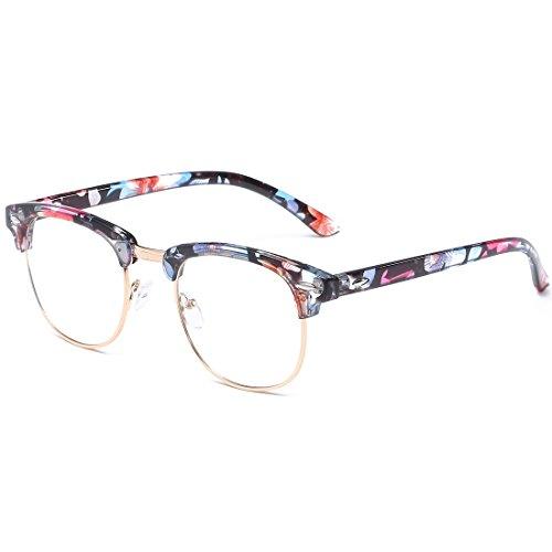 VEVESMUNDO Lentes Claro Gafas Anteojos Retro Metal Medio Marco Semi Al Aire Montura Sin Dioptría Con Funda Para Mujer Hombre 16 Color(Rosado Flores)