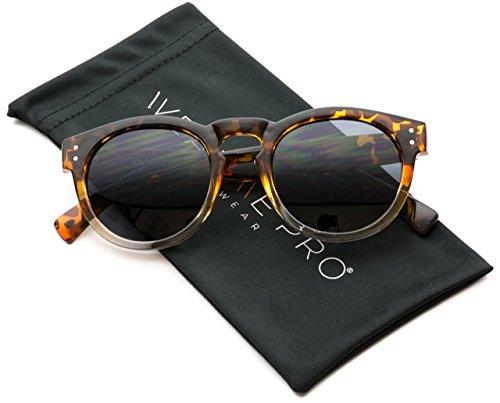 WearMe Pro Sonnenbrille im Vintage-Stil, mit Spiegelgläsern, abgerundeter Rahmen, Schwarz (Tortoise Clear/Black Lens), Einheitsgröße
