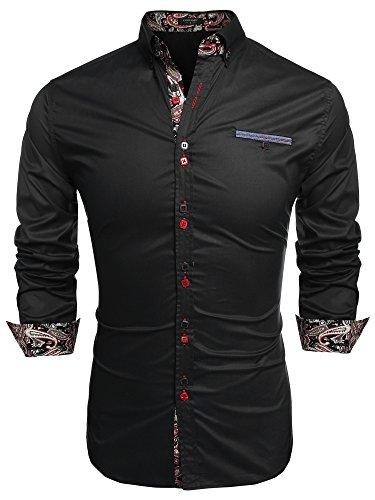 Coofandy camicia da cerimonia uomo manica lunga estiva elegante moda nero l