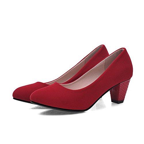 Odomolor Donna Puro Pelle di Mucca Tacco Medio Scarpe A Punta Punta Chiusa Tirare Ballerine Rosso