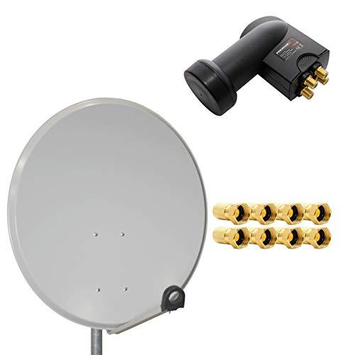 PremiumX Digital SAT Anlage 80cm Stahl Schüssel Spiegel Antenne Hellgrau Quad LNB PXQS-SE 0,1dB für 4 Teilnehmer + 8 F-Stecker 7mm vergoldet