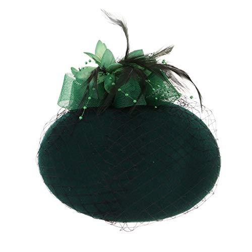 Baoblaze Damen Fascinator Hut Pillbox Hut Blumen Feder Britischer Bowler Mütze Kappe für Party Hochzeit Tea-Party - ()