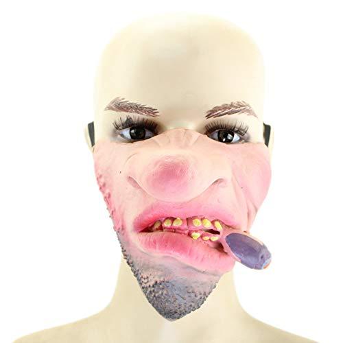 Halloween Kostüm Party Latex Lustige Halb-Gesicht-Maske,1 ()
