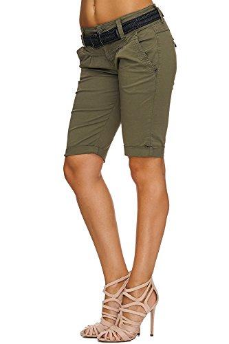 SUBLEVEL Damen Cuba Chino Shorts Bermuda kurze Hose inkl. Gürtel D6053Z600800JZ/IZ XS S M L XL Middle Green